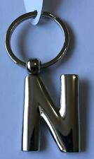 Solid Metal Letter N Keyring, key ring keychain alphabet Initial silver tone