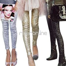 Stylish Women Ladies Shiny Sequins Leggings Pants Stretch Slim Long Trousers