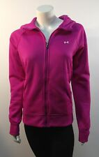 UNDER ARMOUR Womens FUCHSIA Pink Zip Hoodie Ladies Polar Fleece Cold Gear Jacket