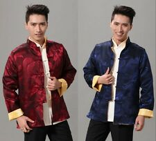 Double face Chinese style  Men's Silk jacket coat Cheongsam Sz: M L XL XXL XXXL