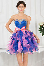 Womens Beaded Evening Ball Gown Bridesmaid Party Prom Short Mini Organza Dress