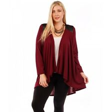 New Women's Plus Size Burgundy Leather Accent Knit Open Cardigan Sweater Size 1X