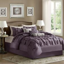 Classy Plum Purple Laurel Comforter Pillow Shams Bed Skirt & Decorative Pillows