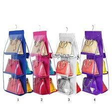 Hanging Handbag Purse Bag Wardrobe Storage Organiser 6 Pockets Organizer Holder