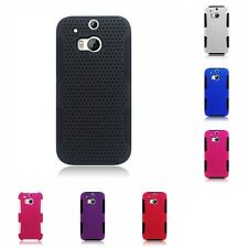 For HTC One M8 Case Hard Soft Dual Layer Slim Thin Rugged Mesh Cover