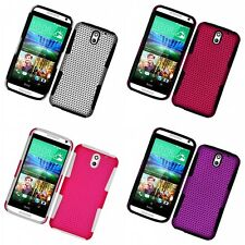 For HTC Desire 610 Case Hard Soft Dual Layer Slim Thin Rugged Mesh Cover