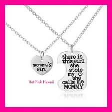 2pcs Mother Daughter Heart fits Mommy's Girl Silver Plated Necklaces USA MADE