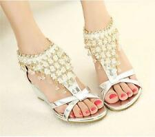 New CHIC Womens Gladiator Heel Wedge Ankle Strap Flats Sandal Party Wedding Shoe