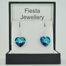 Sterling Silver Heart Crystal Earrings Swarovski Elements 17 Colour Choice 10mm