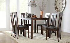 Dark Milton & Chester Dining Table and 4 6 Leather Chairs Set (Brown)