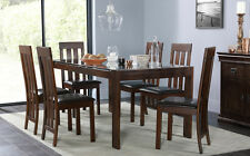 Tate 180cm Dark Wood & Glass Dining Table & 4 6 8 Chester Chairs Set (Brown)