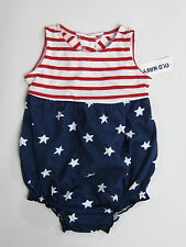 NWT Baby Girls Old Navy Size 3-6 or 12-18 Months Stars Stripes Bubble Romper
