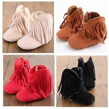 Infant Baby Girl Soft Sole Boots Toddler Kids Tassel Moccasin Crib Shoes 0-18M