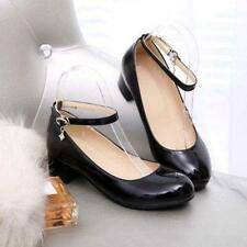 Womens Mary Janes Faux Patent Leather Ankle Strap Block heel Shoes