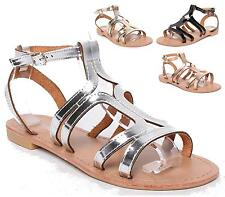 LADIES GLADIATOR LOW HEEL FLAT STRAPPY HOLIDAY BEACH WOMENS SANDALS SHOES SIZE