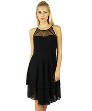 Bimba Women Exclusive Black Georgette Shift Dress Sheer Chick Prom Dress