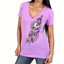 Ladies SUGAR SKULL Burnout Top Womens V-Neck Motorcycle Gothic Biker t-shirt P