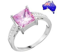 Stunning 925 Sterling Silver Pink Princess Crystal CZ Shiny Finger Ring Gift New