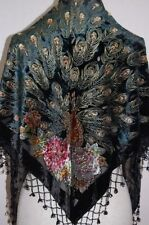 black  silk Chinese Women's Embroider Shawl/Scarf peafowl