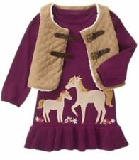NWT Gymboree PLUM PONY 12 18 24 2T Horse Sweater Dress Tan Quilted Vest Toggles