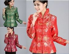 Green red burgundy Chinese Women's silk embroidery jacket /coat Sz 8 10 12 14 16