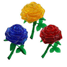 3D Rose Crystal Puzzle Jigsaw Model DIY IQ Toy Furnish Gift Cute Souptoys Gadget