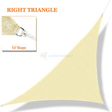 Sun Shade Sail Beige Right Triangle Permeable Canopy Lawn Patio Pool Garden Deck