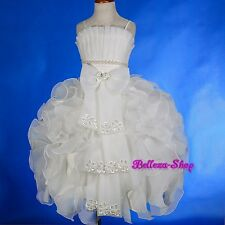 Beaded Satin Dress Wedding Flower Girl Pageant Communion Party Size 2T-12 FG230