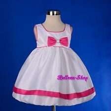 Satin Scoop Dress Wedding Flower Girl Pageant Party Baby Toddler Sz 6m-4T FG210