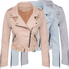 Ladies Faux Leather Between-seasons Jacket Suede-look Summer D-313 NEW