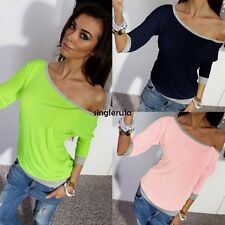 Fashion Casual Womens 3/4 Sleeve Loose Pullover T Shirt Top Blouse SI