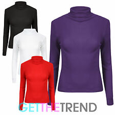 WOMENS LONG SLEEVE POLO NECK TOP LADIES RIB POLO NECK LONG SLEEVED TOP 8-14