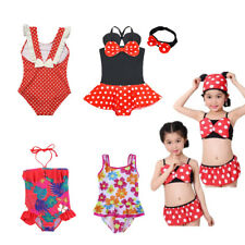 Girls Minnie Mouse Swimsuit Swimwear Bathing Beachwear Swimming Suit Headband