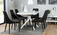 Blake Modena Oval Extending High Gloss & Glass Dining Table 4 6 Black Chairs Set
