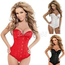 2Pcs Women Emboridery Floral Lace Up Corset Bustier Overbust Top with G-string