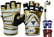 RDX Weight Lifting Gloves Leather Body Building Gym Glove Training Wrist Straps