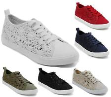 Ladies Womens Flat Crochet Canvas Gym Casual Sports Lace Up Trainers Flat Shoes