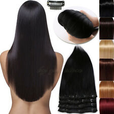 """18""""20""""22"""" Premium Clip In Extensions Remy Real 100% Human Hair Full Head BS429"""