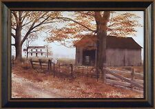 OLD COUNTY ROAD by Billy Jacobs 15x21 FRAMED PRINT Folk Art Farm House Fence