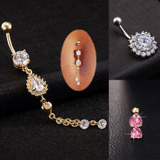 3Pc Belly Button Navel Ring Bar Crystal Jewelry Dangle Body Piercing Jewelry Set
