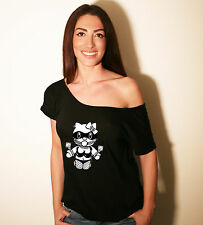 BDSM HELLO KINKY Sexy Loose Off Shoulder T-shirt, Boat Neck Short Sleeve top.