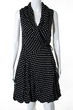 Aryn K Black White Polka Dot Sleeveless Bubble Hem Wrap Dress Size Medium