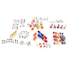 2/3/4 Set 105pcs Mix Nose Navel Tongue Piercing Bar Barbell Body Jewelry