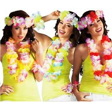 Flower Lei Garland Head-Dress & Bracelets - Hawaiian Fancy Dress - New