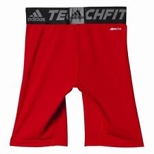 Adidas Football Youth Soccer Techfit Base Shorts Tight Boys Climalite Red
