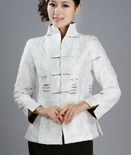 Charming Chinese Women's silk embroidery jacket /coat white Sz:8 10 12 14 16