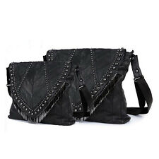 Black Women Rivet Tassel Genuine Leather Handbag Shoulder Bag Tote Messenger Bag