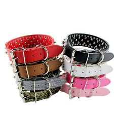 Solid 2inch Wide Pet Collar Large Dog Collar Leather Rivet Studded XS S M L