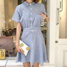 Women Summer Two Pocket Retro Cute Striped Knee-length Shirt Dress