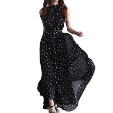 Womens Polka Dots Long Casual Summer Dress Beach Dress Party Chiffon Dress...